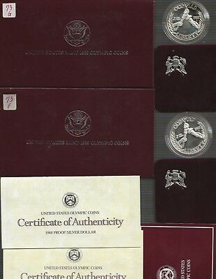 LOT OF (2) 1988 US Mint Olympic Proof 90% Silver Dollar $1 Coins *NO RESERVE*