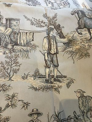 Charles Faudree Cavalier Toile for Vervain Ash on  Celadon Blue By the Yard