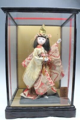 "16"" H JAPANESE TRADITIONAL DOLL IN ORIGINAL Glass BOX RARE Japan"