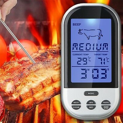 Wireless Remote Smoker Meat Food Thermometer Kitchen Cooking Oven BBQ + Dock Q6
