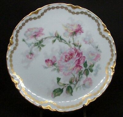 Five Haviland Coupe Luncheon Plates -  Pink Roses - Naudin Style