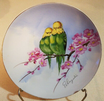 Hand Painted PERCHED Limb & Flowers BUDGIES Parakeets BIRDS Wall Hanging PLATE