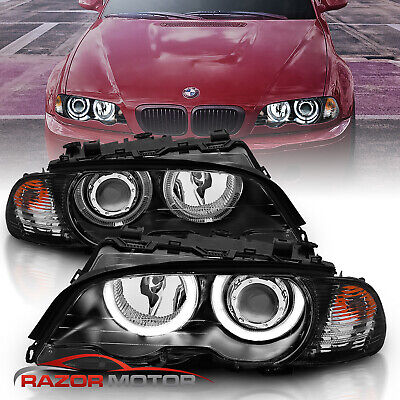 2000-2003 Dual Halo Black Projector Headlights Pair For BMW E46 3-Series Coupe