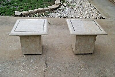 Pair of Mid-Century Modern Maitland Smith Tesselated Stone Side/End Tables