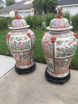 Large Chinese Rose Medalion Lidded Porcelain Jar