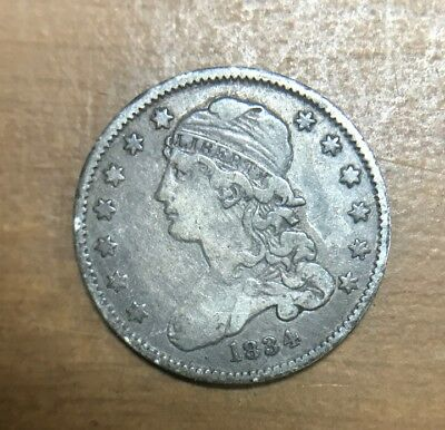 1834 Capped Bust Silver Quarter Nice Original Rotated Dies