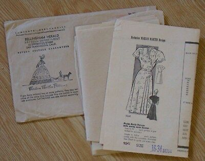 1940s Woman's Dress Pattern mail-order Marian Martin size 34