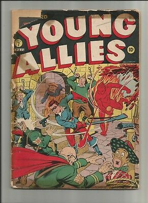 Young Allies #7 1943 Timely Comics Alex Schomburg Low Grade WWII Japanese CFO