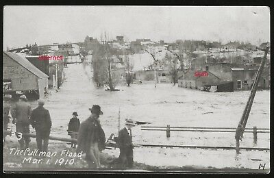 Photo Postcard RPPC, Street View,Town, Flood, Pullman,Washington,1910 nr Spokane