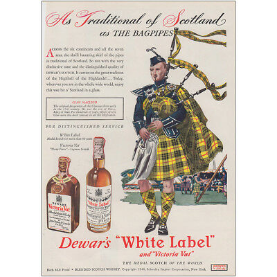 1947 Dewars: Traditional of Scotland As the Bagpipes Vintage Print Ad