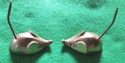 Pair Of Solid Brass Mouse Paper Holders, Decor