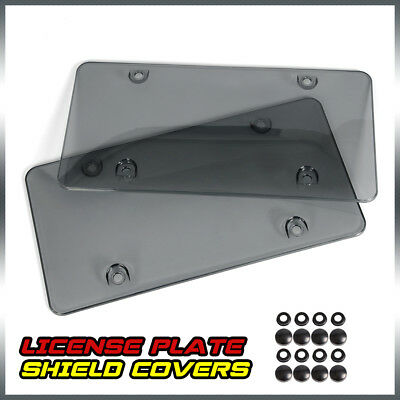 2x Front/Rear License Plate Covers Tag Frame Bubble Shield + 8* Black SCREW CAPS