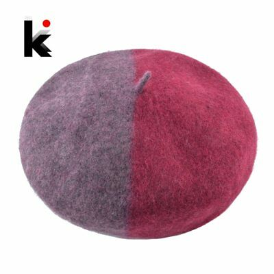 Vintage Wool Beret Hats For Women Autumn Winter Fashion Patchwork Color Beanie