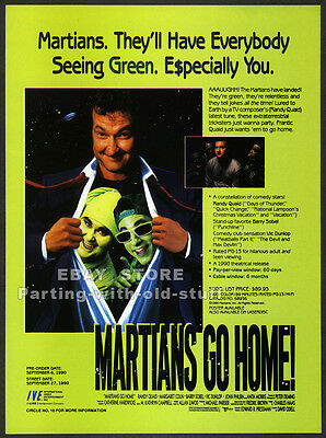 MARTIANS GO HOME Original 1990 Trade Print AD Promo RANDY QUAID MARGARET COLIN