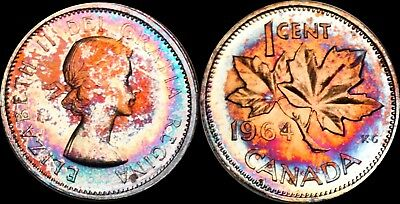 1964 Canada 1 Cent Proof Color Toned High Bu Grade Coin