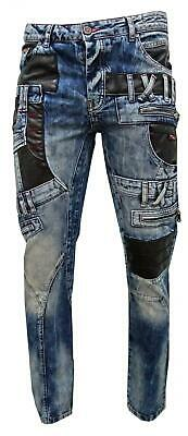 Mens Cipo and Baxx CD482 Funky Jeans Blue