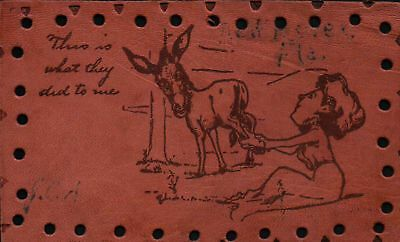 This is What They Did to Me Vintage LEATHER Postcard