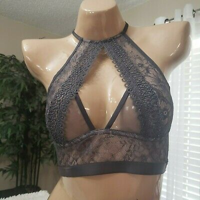 b473a2caf4 MEDIUM Victorias Secrets Very Sexy Gray Floral Lace High-Neck Bralette-Bra  NWT