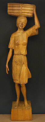 "Vintage Asian African Hand Carved Wood Woman Tribal Statue Large 26"" Tall"
