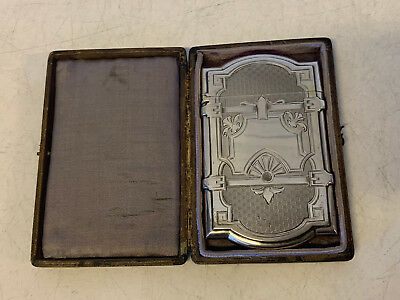 Antique Early Gorham Sterling Silver Card Case w/ Leather Case / Box