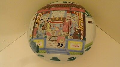 big 12 x  6 3/4 chinese covered box porcelain warriors 20 to 21 century painted