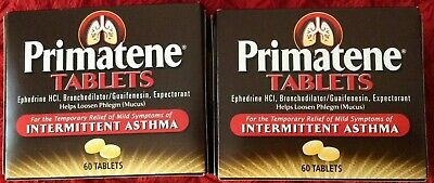 2 Boxes Of Brand Name Primatene Sealed 60 Ct Exp 4/2021 Asthma Allergy Bronkaid
