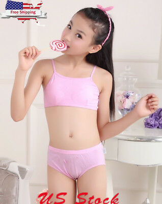 129173697e9 2Pcs Girls Teenage Underwear Set Children Young Training Bra Puberty Panties  US