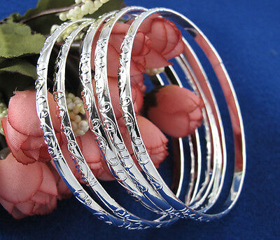 Lot 5pcs 925 Silver Carving Pattern Women's Bracelet Bangle Jewelry Gift New US