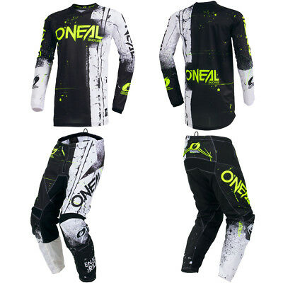 ONeal Element Shred Black motocross MX dirt bike gear - Jersey Pants combo set