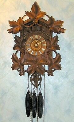 Antique G.K. Black Forest Cuckoo & Quail clock from 1907.