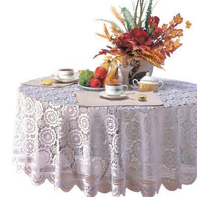 Vintage Rectangle Round Tablecloth Hand Knit Lace Table Cloth Valentines Decor