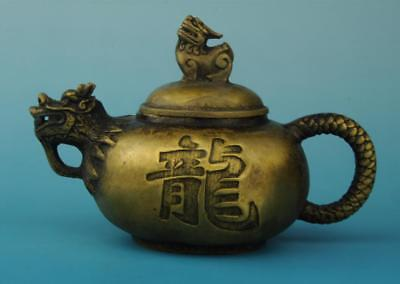 chinese old copper hand carved dragon teapot / the great qing mark d02