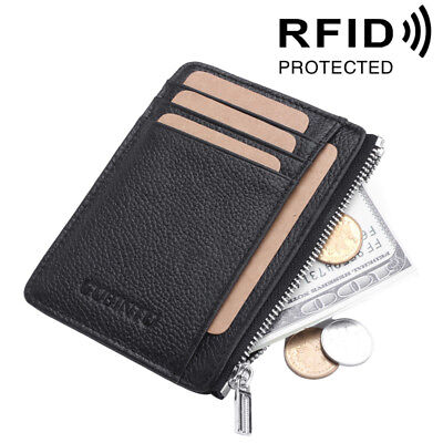 Mens Mini Leather Wallet Slim Small ID Credit Card Holder Coin Purse Zipper RFID