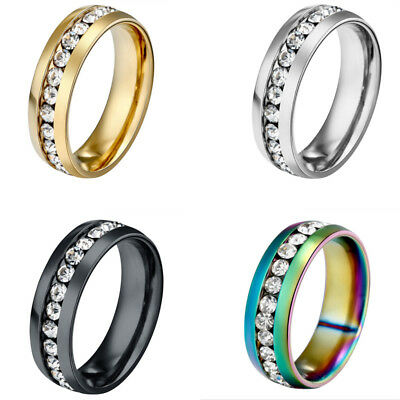 1Pc Stainless Steel Women Classic Clear Crystal Rings 6mm Jewelry Size 14mm-23mm