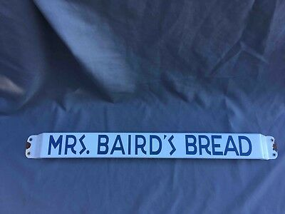 Old Mrs. Baird's Bread Porcelain Grocery Store Advertising Door Push Bar
