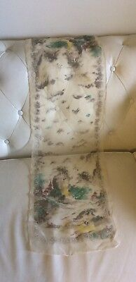 Vintage RARE Chinese Antique Scarf Clear Silk Wrap Cravat Mountains Temple 1930