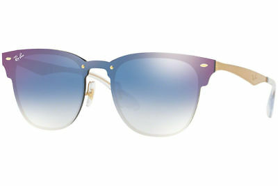 c6d14627e43 Authentic Ray Ban Blaze Clubmaster RB3576N 043 X0 Gold Blue Mirror Lens 47mm
