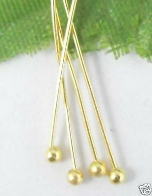 Free Ship 200pcs Golden plated copper solid ball head pin 50mm