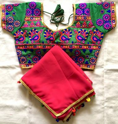 Readymade new designer kutchi gamti blouse thread n foil mirror work readyblouse