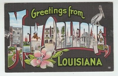 [69728] OLD LARGE LETTER POSTCARD GREETINGS from NEW ORLEANS, LOUISIANA