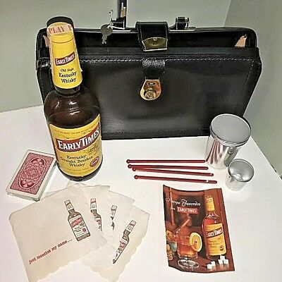 Vntg 1967 Early Times Kentucky Bourbon Bottle~Bag~Cups~Stirrers~Napkins~Recipes