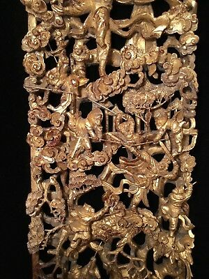 Big Antique Qi'ing Chinese Gilt Wood Carved Panel Battle Scene Wooden Carving #3