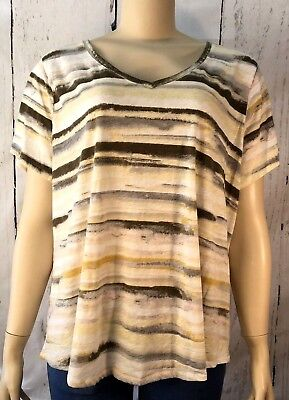 b77a229060d Sonoma Goods For Life Womens Size 2X Multi Color V Neck Short Sleeve Blouse  Top