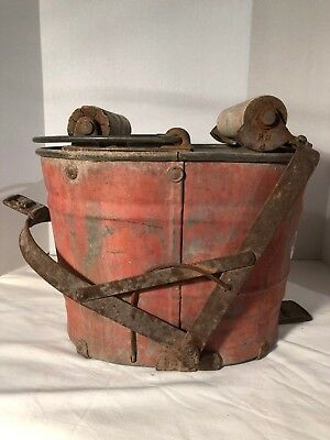Vintage White Company Ringer Mop Bucket in Original Red with Wooden Rollers