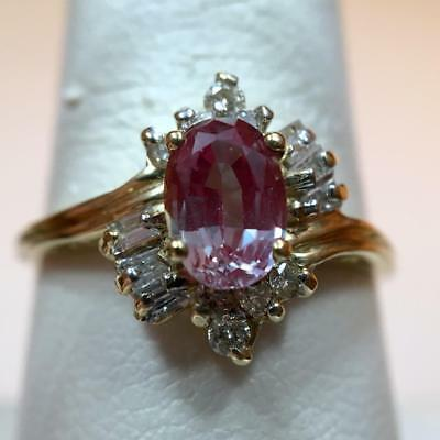 1.35tcw Natural Oval Color Change Garnet Ring 10K Yellow Gold & Diamonds Sz 8.25