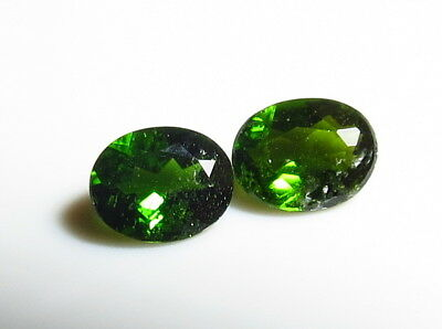2pc RUSSIAN CHROME DIOPSIDE faceted OVAL CUT LOOSE GEMSTONES 5X4mm