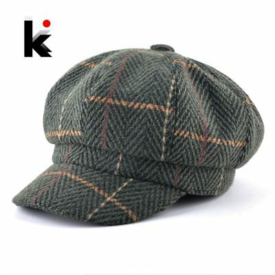 Women's Newsboy Cap Ladies Autumn Winter Fashion Octagonal Hats For Men Knitted