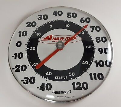 """Vintage 18""""Avco New Idea Farm Equipment Advertising Thermometer Sign USA Tractor"""