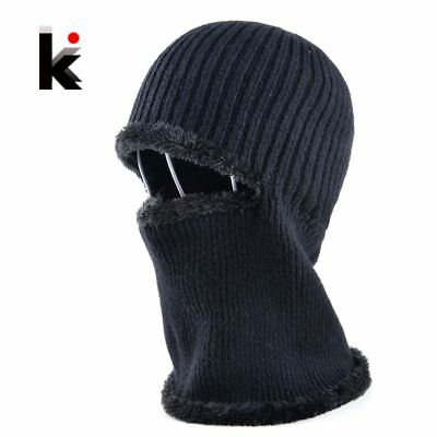 Mens winter face mask hat skullies and beanies knitted wool stocking hat plus