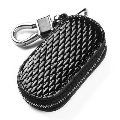 Genuine Leather Car Key Case Remote Keychain Bag Zip Pouch Cover Holder Pouch